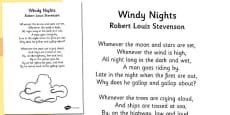 R. L. Stevenson Windy Nights Poem Sheet