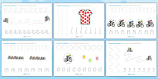Tour de France Themed Pencil Control Activity Sheets
