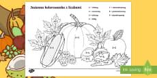 Jesienna kolorowanka z liczbami Dodawanie do 10
