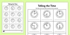 O'clock and Half Past Times Activity Sheet