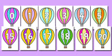 Numbers 0-20 on Hot Air Balloons (stripey)