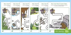 Pencil Control Path Activity Sheets to Support Teaching on Bear Hunt