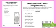 Money Calculator Game Change the Display Activity Sheet