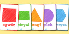 2D Shapes Poster Welsh