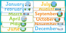 Months of the Year Display Banner Pack