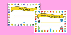General Happy Birthday Certificates Portuguese