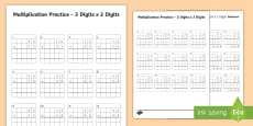2 Digit x 2 Digit Multiplication Practice Activity Sheet