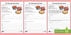 The Chewing Gum Meal Writing Activity Sheet to Support Teaching on Charlie and the Chocolate Factory