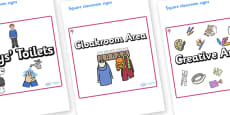 Cherry Tree Themed Editable Square Classroom Area Signs (Plain)