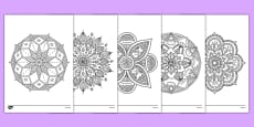 Mandala Themed Mindfulness Colouring Sheets