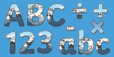 Arctic Animals Habitat Themed Display Letters and Numbers Pack