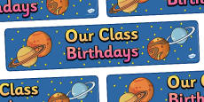 Editable Birthday Display Set Space Banner