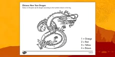 Australia Number Colouring Chinese Dragon