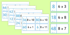 8 and 6 Times Tables Loop Cards