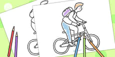 Black And White Cyclist Colouring Sheet