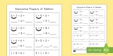 Associative Property of Addition Practice Activity