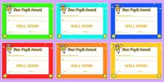Star Pupil Award Certificates