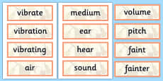 Year 4 Sound Scientific Vocabulary Cards