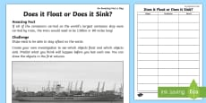 Does It Float or Does It Sink? Activity Sheet