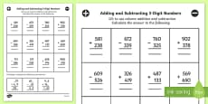 Adding and Subtracting 3 Digit Numbers in a Column Mixed Activity Sheet Year 3