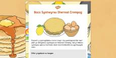 Diwrnod Crempog Bocs Synhwyrau