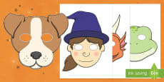Witch, Broom and Animals Role Play Masks