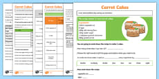 Carrot Cakes Scaling Problems Activity Sheet Pack