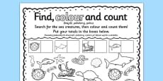 Under the Sea Find Colour and Count Activity Sheet Polish Translation