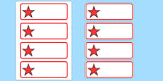 Editable Red Stars Drawer, Peg, Name Labels