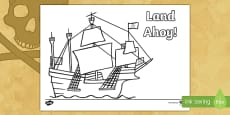 Land Ahoy! Pirate Ship Colouring Page