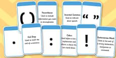 Punctuation Marks And Explanation Matching Cards
