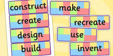 Building Brick Challenge Instruction Word Display Cards