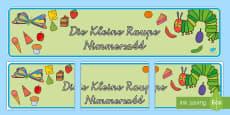 Die Kleine Raupe Nimmersatt Banner für die Klassenraumgestaltung