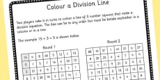 Year 3 Colour the Division Equation Game Sheet