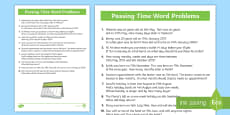Passing the Time Word Problems Activity Sheet