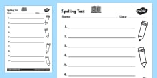 Spelling Test Template Activity Sheet