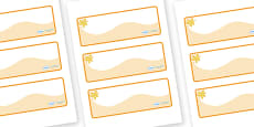 Amber Themed Editable Drawer-Peg-Name Labels (Colourful)