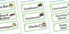 Green Themed Editable Additional Classroom Resource Labels