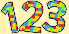 Building Brick Themed Display Numbers