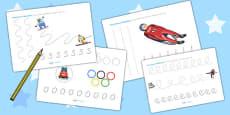 Winter Olympics Pencil Control Activity Sheets - Australia