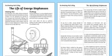 The Life Of George Stephenson Activity Sheet