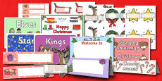 Christmas Classroom Signs and Labels Resource Pack