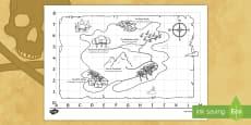* NEW * Pirate Treasure Map English/Italian