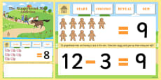 The Gingerbread Man Subtraction to 20 PowerPoint