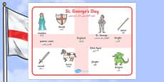 St George\'s Day Word Mat Arabic Translation