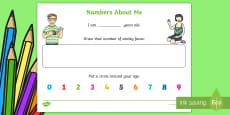 * NEW * EYFS Numbers about Me Activity Sheet