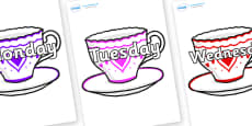 Days of the Week on Cups and Saucers