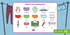 Word Mat Images to Support Teaching on Aliens Love Underpants
