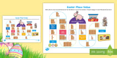 Year 1 Easter Base 10 Place Value Board Game