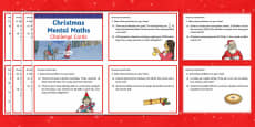 Year 4 Christmas Mental Maths Challenge Cards